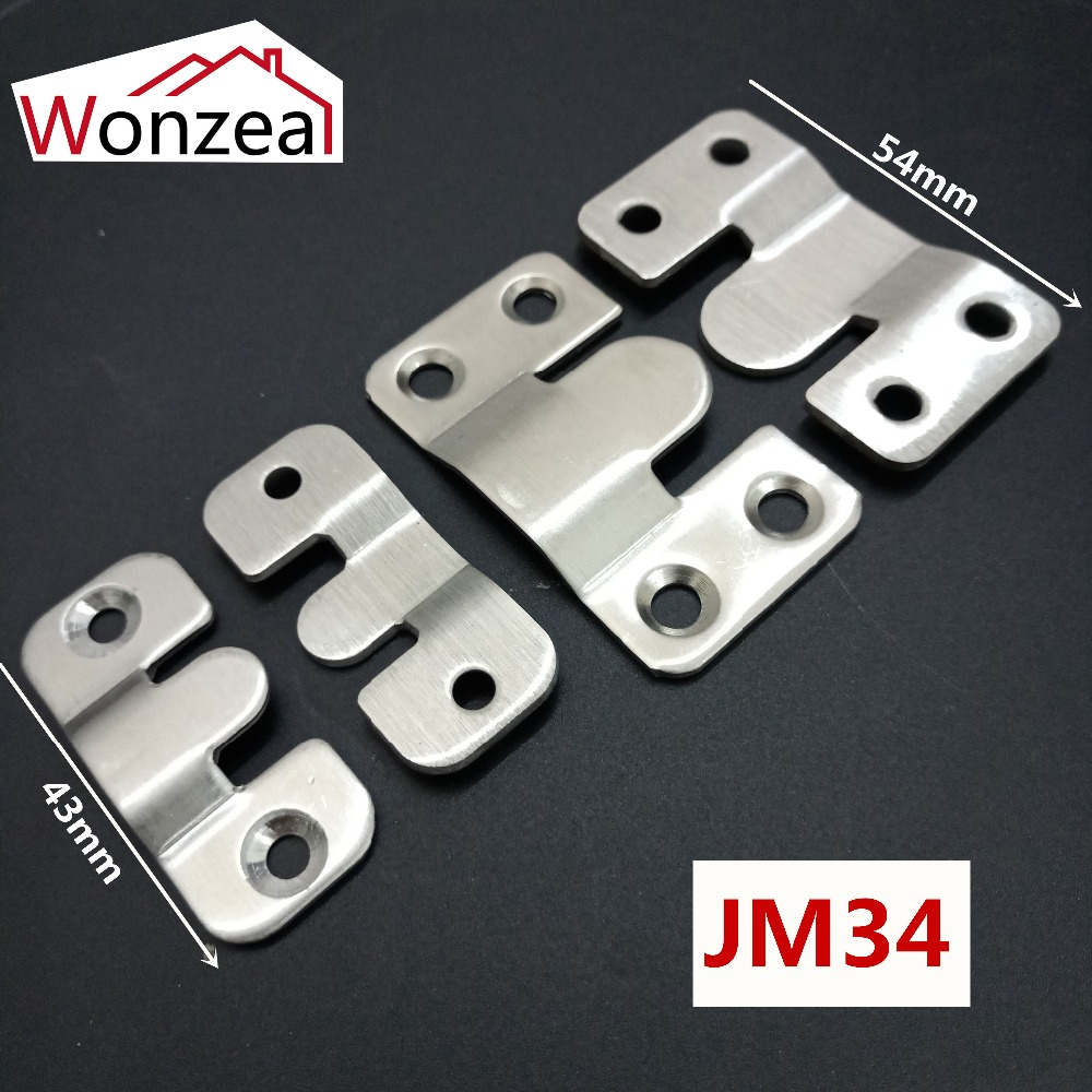 2pcs Stainless Steel/Iron Furniture Connecting Piece Hanging Buckle Iron Bed Hanging Hook Buckle Mirror Frame Insert Fittings