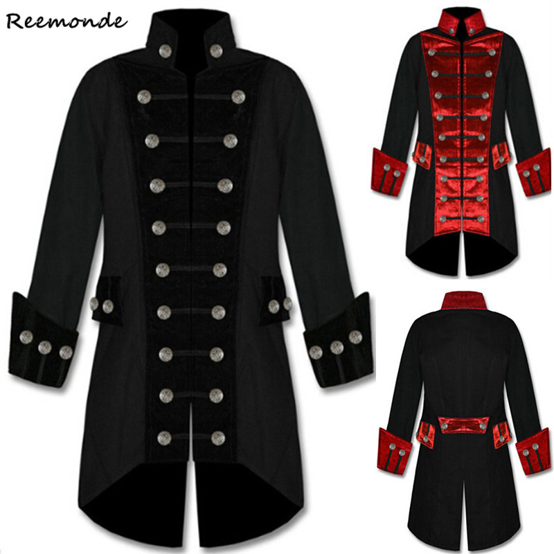 Adult Men Victorian Costumes Black Red Tuxedo Tailcoat Long Jacket Steampunk Trench Coat Frock Outfit Gothic Overcoat Uniform