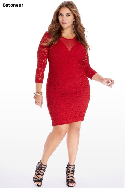 Women Enlarge Plus Size 3xl 6xl Red Dress Patchwork Hollow Increase