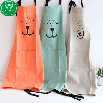 LKQBBSZ Cartoon Cooking Women Aprons BBQ Party Funny Kitchen Apron Cotton Wear Oil Prevention Cooking Apron funny for Man