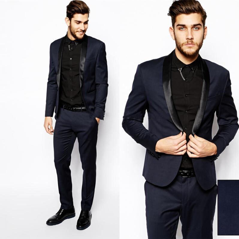 Tuxedo Suits Pants Coat Business-Suit Formal-Dress Best Black Fashion Mens Navy
