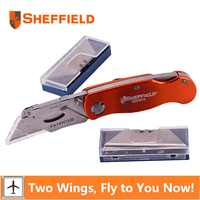 Sheffield Utility Knife Folding Knife Lock-Back Paper cutter tool Pocket Heavy Duty Knife Gift 20 Quick Change Knife blades
