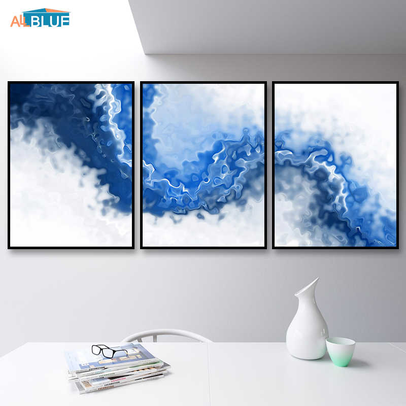 Watercolor Canvas Art Print Painting Blue Wave Nordic Painting Abstract Art Poster Wall Pictures For Living Room Home Decoration