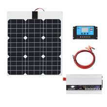 цена на 40W 12V Solar Panel 1000W Inverter 220V or 110V+PWM 10A Charge Controller Battery Charger Panel solar Kit system Home outdoor