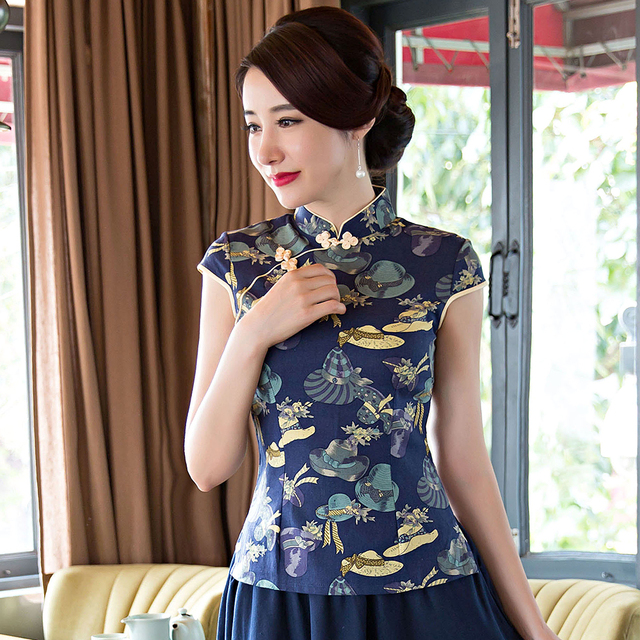 Elegant Women Short Sleeve Cotton Linen Clothing Vintage Female