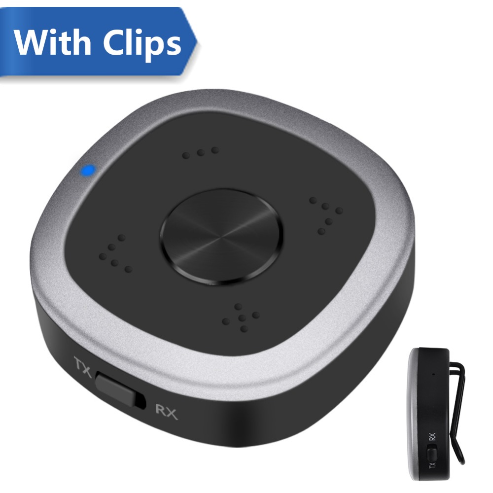 New Elekele Bluetooth Adapter Built-in Mic, Support Dual APTX HD Bluetooth  Transmitter and Receiver 3 5mm AUX Audio Adapter