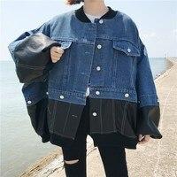 Women Clothing Lantern Sleeves Loose Denim Jacket Casual Leather Stitching Jacket Women Autumn New