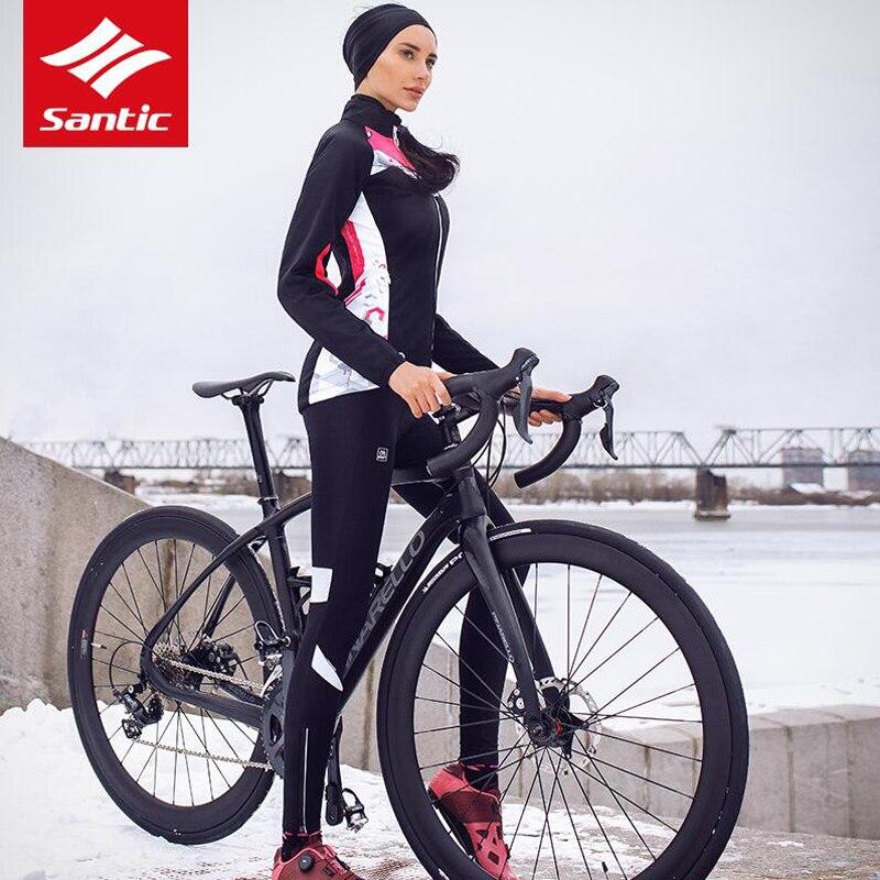 цена Santic Winter Cycling Jacket Women Pink Long Windproof Thermal Warm Bike Coats MTB Road Bicycle Outdoor Jacket Ropa Ciclismo онлайн в 2017 году