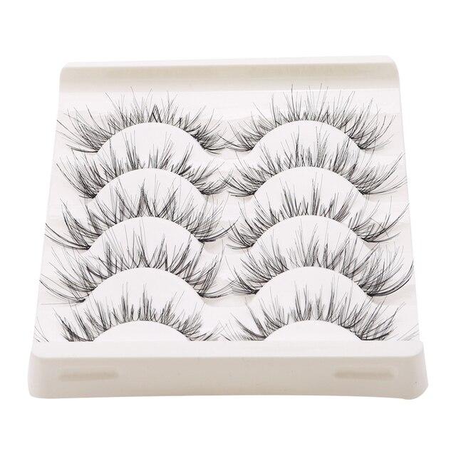 5Pair/Box Eyelashes 3D Artificial Fiber Long Lasting Lashes Women Volume Eyelashes Extension False Eyelashes 3