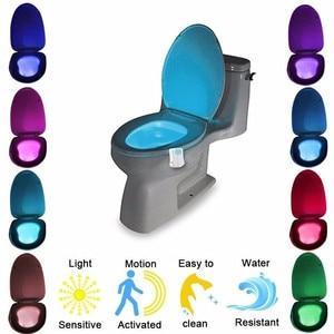 Image 1 - التلقائي تغيير الألوان LED مصباح حمام ليلة مصباح ذكي مستشعر حركة الجسم المحمولة مقعد الطوارئ الحمام WC ضوء