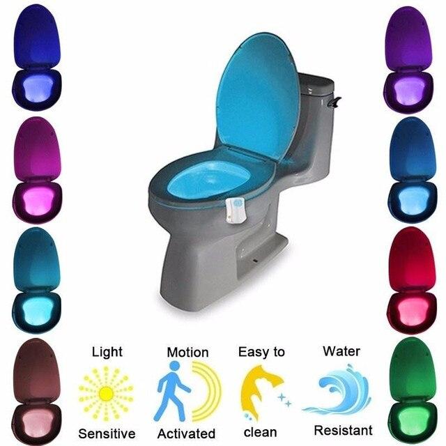التلقائي تغيير الألوان LED مصباح حمام ليلة مصباح ذكي مستشعر حركة الجسم المحمولة مقعد الطوارئ الحمام WC ضوء