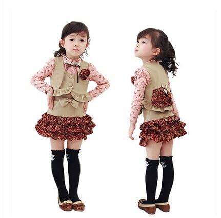 ФОТО New Arrival ! Korean Girls Clothing sets Autumn Kids baby Clothing set  Children Vest +Skirt+shirt 3 pcs kids Clothing sets