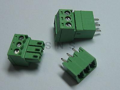 250 pcs Screw Terminal Block Connector 3.5mm 3 pin/way Green Pluggable Type 3 pin curved screw terminal block connectors green 20 piece pack