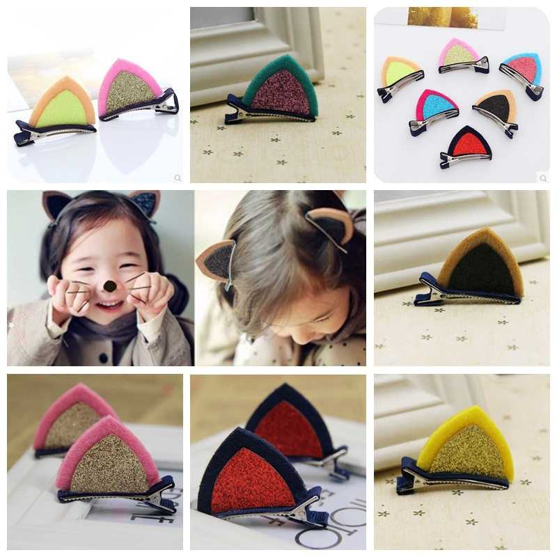 1Lot=2Pcs Lovely Cat Ear Hairpins Hair Ornaments Hair Jewelry Children Hair Accessoreis Girls Hair Clip Kids Barrettes Hairpins baby cute style children accessories hairpins rabbit fur ear kids girls barrette lovely hair clip