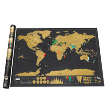 Scratch Map Scratch Off World Travel Map Poster Copper Foil Personalized Journal Log Big Size with Cylinder Packing(China)
