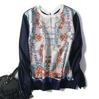 Чистый шелк с шерстяная вязаная женская мода печатных контрастного цвета тонкая футболка свитер футболки синий M/L оптом и в розницу смешива