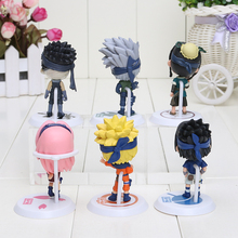 Naruto 6pcs/set Sakura kakashi Sasuke Haku Zabuza Q version Action Figure Toys