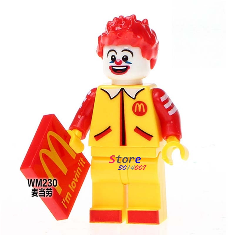 Single star wars super heroes The Horror Movie Halloween Ronald McDonald building blocks models bricks toys for children kits plastic standing human skeleton life size for horror hunted house halloween decoration