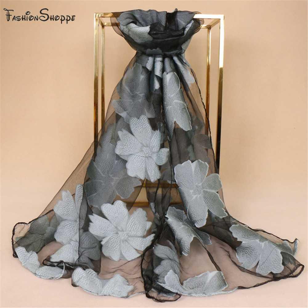 Шелковистый роскошный женский шарф хиджаб вышивка цветок длинная Черная кружевная пряжа хиджаб модные шали шарфы YS434