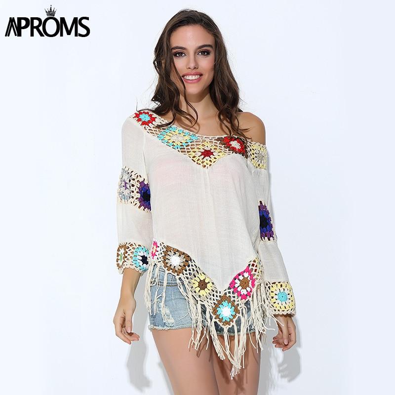 Aproms सुरुचिपूर्ण 2019 सफेद फीता Crochet शिफॉन ब्लाउज महिलाओं Boho v गर्दन ढीला अंगरखा सबसे ऊपर बड़े आकार हस्तनिर्मित किमोनो शर्ट Blusas