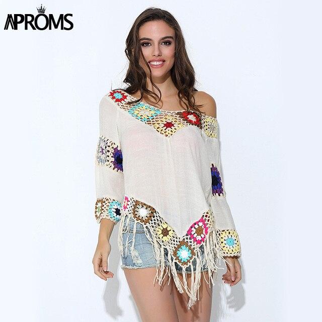 79b4fcda71e Aproms Elegant 2019 White Lace Crochet Chiffon Blouses Women Boho v neck  Loose Tunic Tops Big Size Handmade kimono Shirt Blusas