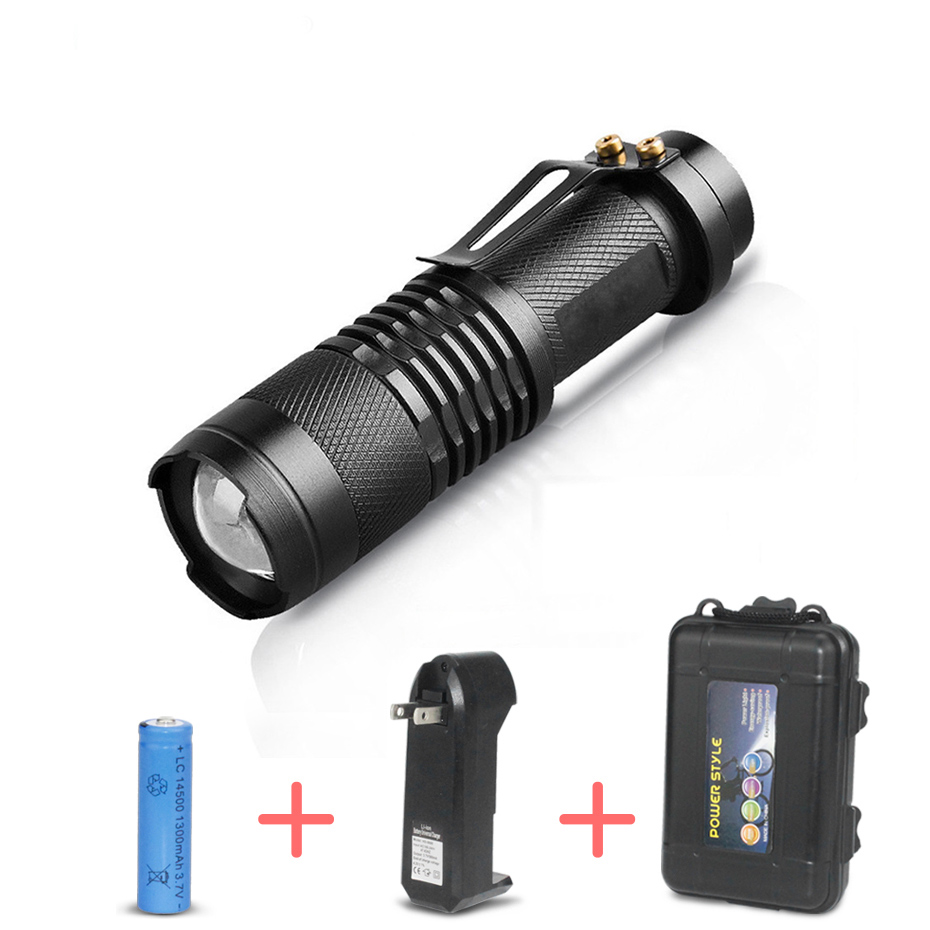 Zoomable Waterproof Q5 Led Flashlight Mini SK68 Rechargeable Adjustable Led Torch for Hunting Hiking Camping Fishing protable usb rechargeable q5 led flashlight flash light torch powerful mini zoomable linternas lamp with battery fishing