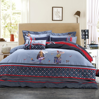 100% cotton Denim bedding set lovely character bed sheet duvet cover bedclothes Wholesale!