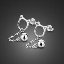 2019 moda minimalistyczne kolczyki 925 srebro ładny styl kot stadniny kolczyki dla kobiet dziewczyn Tassel bell Jewlery prezenty