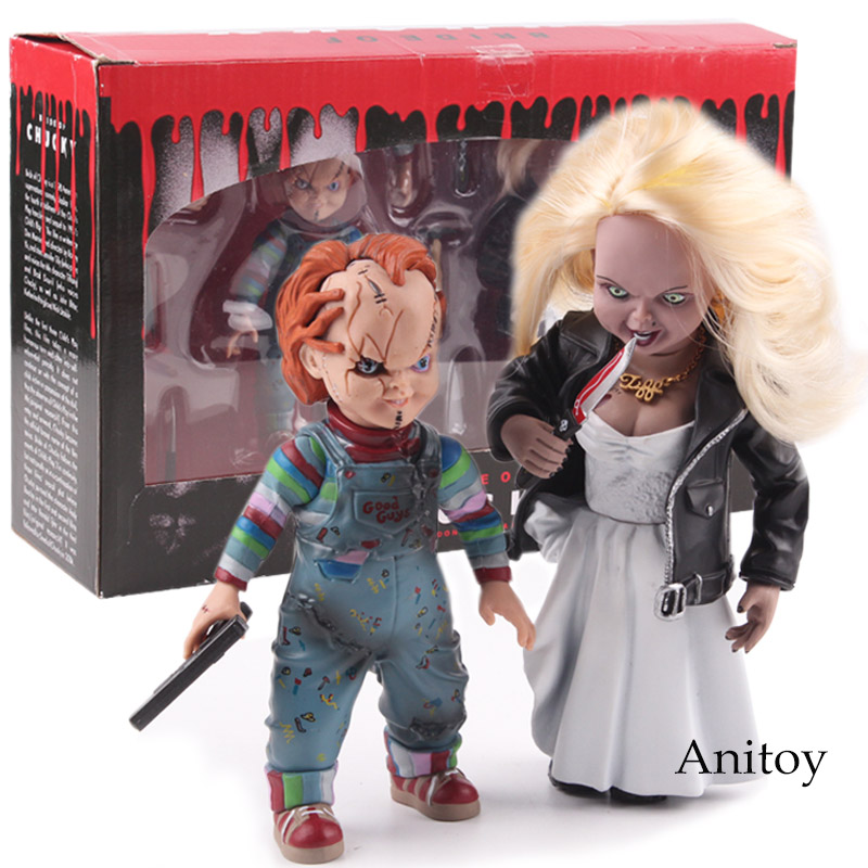 Child's Play Bride of Chucky Doll Chucky & Tiffany PVC Horror Action Figures Collectible Model Toy adanex ad 12998