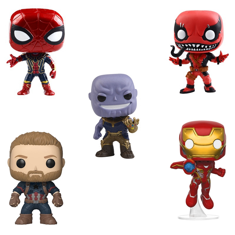 10cm Avengers Super Heros: Infinity War Thanos Iron man Spider man Hulk Deadpool Action Figures Toy Kids Baby Gifts Doll NO BOX