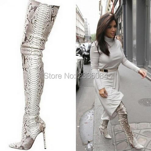 Luxury Brand Python Pattern Leather Pointed Toe Thigh High Boots Kim Women Snakeskin Over Knee Long Booty Shoes Plus Size 10 ...