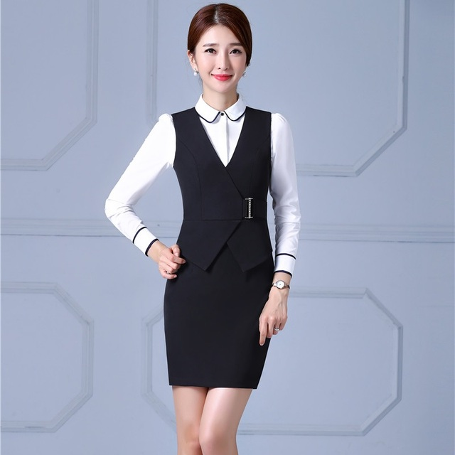 US $17.73 10% OFF|Plus Size 4XL Formal OL Styles Professional Business  Suits With Dresses And Blouse For Ladies Office Work Wear Uniforms Sets-in  ...