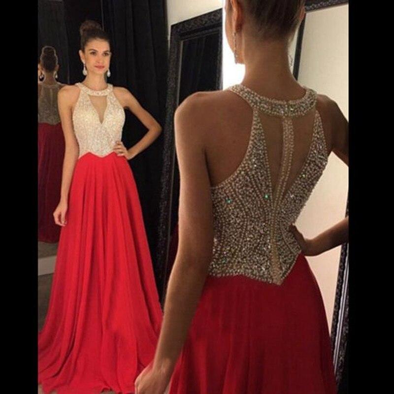 Vestidos De Fiesta 2017 Long Evening Dresses Red Chifon A Line