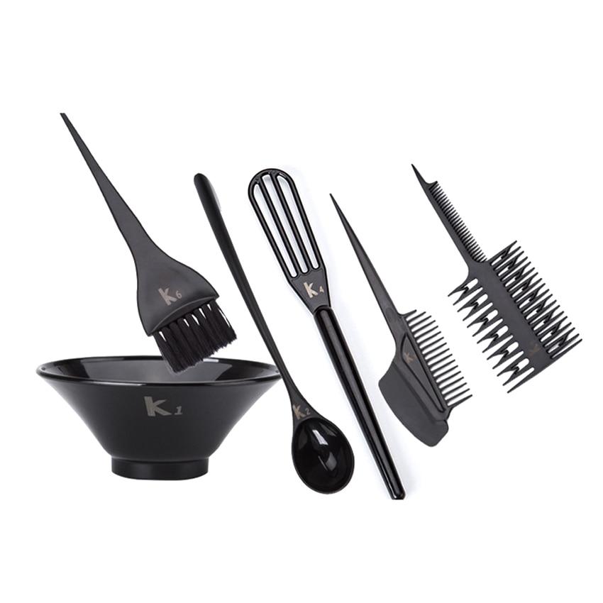 Juoda spalva profesionalūs plaukų dažymo šepetėliai nustatyti plaukų dažymo įrankius rinkinys kirpyklų šukuosenos įrankiai 6 vnt