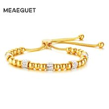 Beads Bracelets Women's Bangles Shiny Rhinestones Stainless Steel Gold Color Charm Lace Up Adjustable Friendship Pulseras(China)