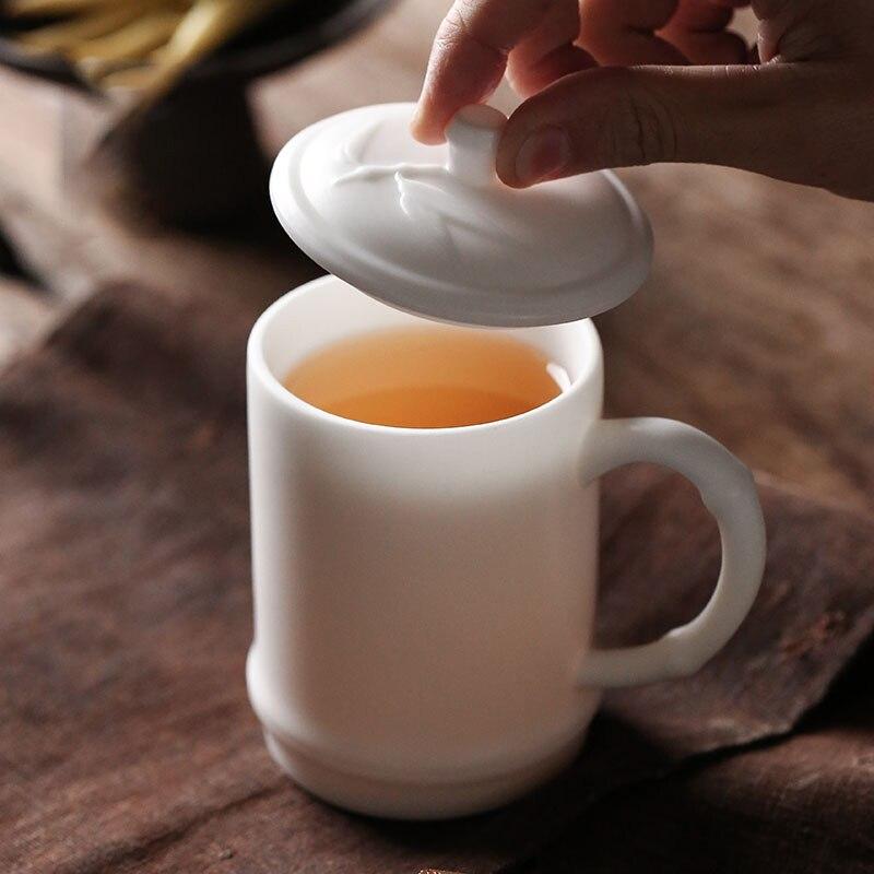TANGPIN traditionnel chinois théière en céramique tasses avec couvercle blanc tasses à café bureau tasse personnelle