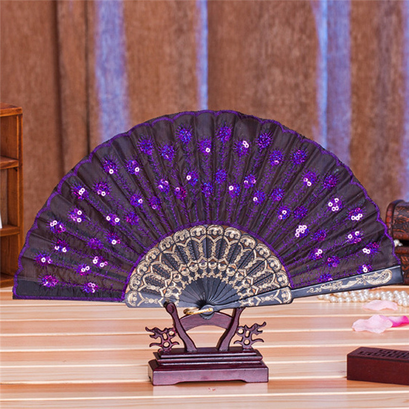 1PC Hand Fans Folding Peacock Pattern Embroidered Sequin Hand Held Chinese Fan Wedding Favors and Gifts abanicos de mano J14#3 (4)