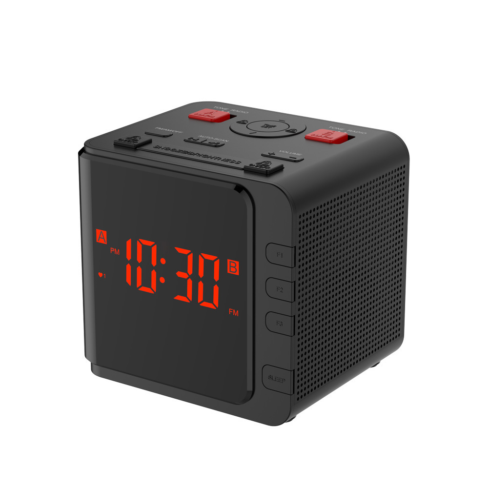 New Square Type Alarm Clock FM/AM Radio Digital LED Clocks European and American Style Black Red Light Snooze Clocks