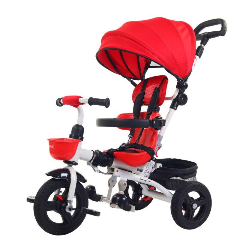 3 em 1 crianças push triciclo dobrável luz triciclo bicicleta das crianças 1-3 anos de carro do bebê crianças passeio no triciclo crianças presentes