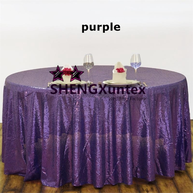 Sequin Table Cloth \ Round Tablecloth   Purple Color Free Shipping