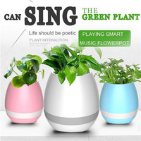 Smart Finger Touch Bluetooth Speakers Music Flower Pot Planter Home Office Deco Free Shipping H3T5