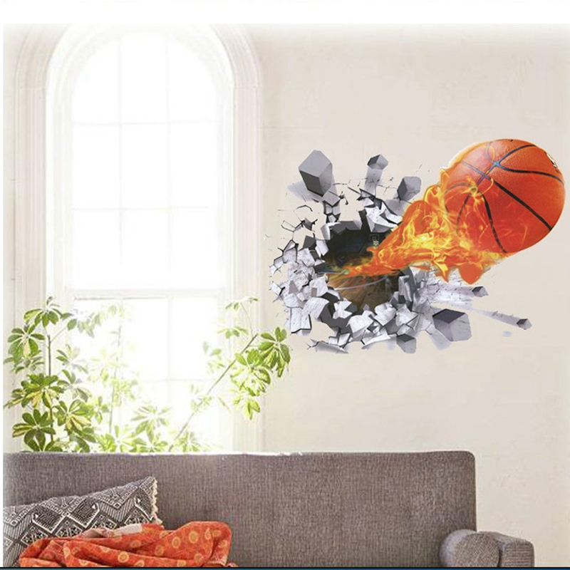 Basketball broken wall decals 3d wall stickers vinilos for Vinilos decorativos 3d