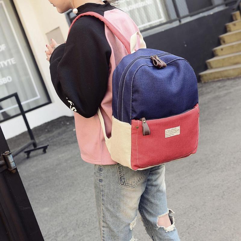 Hit Color Unisex Travel Backpacks Canvas Shoulder School Bags Casual Knapsack Outdoor Climbing Sport Bag Rucksack