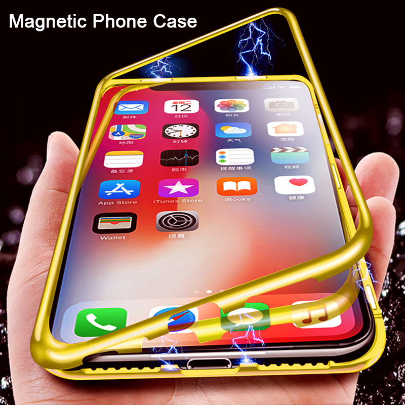 Magnetic Adsorption Clear Case For IPhone 7 8 6 6S Plus Phone Case For IPhone 7 X XR XS Max With Back Tempered Glass Cover Case