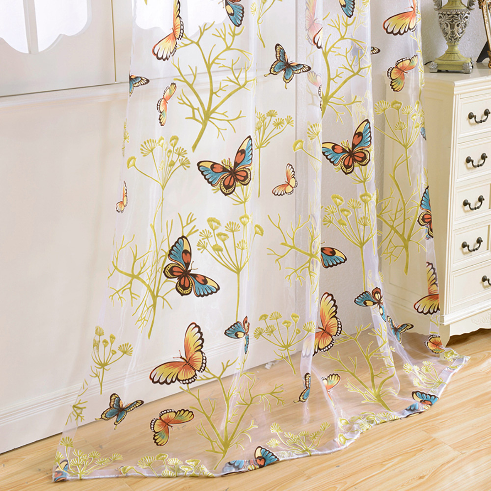Kitchen Curtain Fabric: Tulle Window Curtain Butterfly Burnout Tulle Voile Fabric