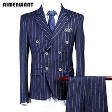 AI men WANT, мужской костюм, пальто, 3 предмета(куртка+ брюки+ жилет), приталенный, тонкий, синий, меловый, в полоску, костюм для мужчин, s, Лондон, костюмы