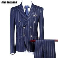 AIMENWANT 2018 Men's Suit Coats 3 Piece(Jacket+Pants+Vest) Tailored Slim Blue Chalk Stripe Suit For Mens London Suits Wholesale