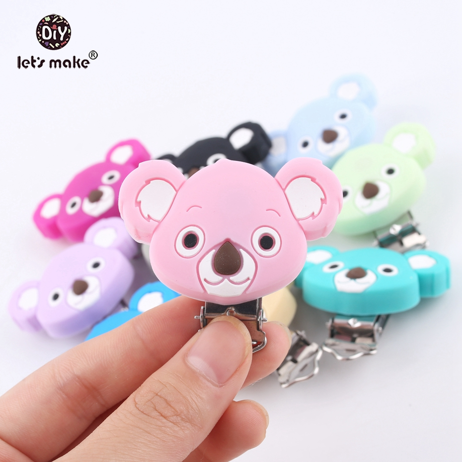 Купить с кэшбэком Let's make Pacifier Clip Of Cartoon Animals Koala 10pc Silicone Teethers DIY Nursing Soother Clips Chains BPA Free Baby Teethers