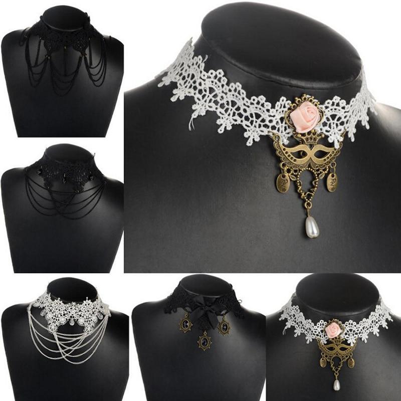 034100c97f2c Vintage Gothique Noir Blanc Dentelle Gland Chaîne Collier Faux Col Choker  Colliers Femmes De Bijoux De Mariage Cadeaux