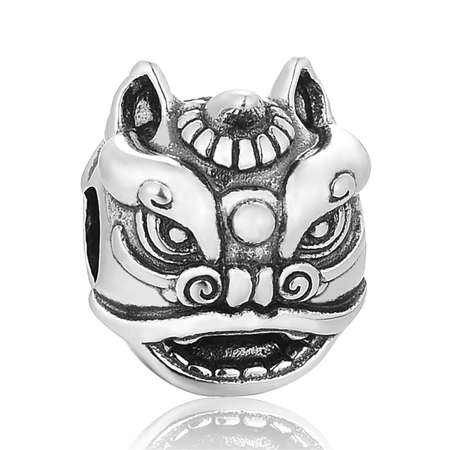 Chinoiserie Dancing Lion Bead Sterling-Silver-Jewelry Beads Fit Pandora Bracelet Silver Woman Jewelry DIY Wholesale